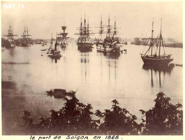 Chiến thuyền Pháp và Tây Ban Nha cập cảng Sài Gòn năm 1868,Việt nam xưa,Việt Nam thế kỷ 18,Ảnh cổ Việt Nam
