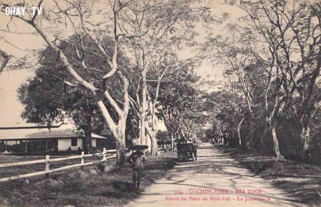 Route du Pont de Binh Loi - Đường qua cầu Bình Lợi (cầu cũ) đầu thế kỷ 20,Việt nam xưa,Việt Nam thế kỷ 18,Ảnh cổ Việt Nam