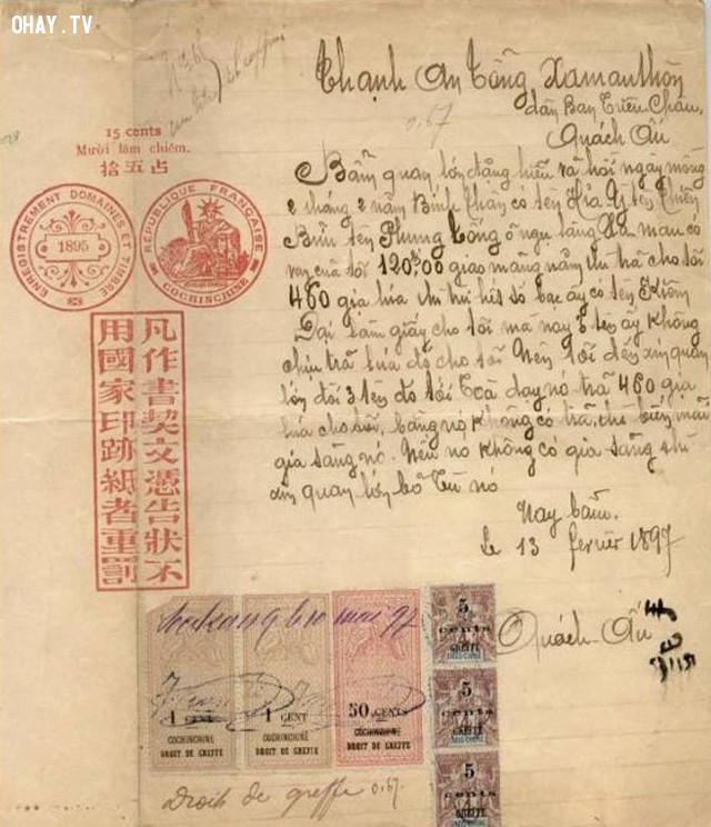 Một lá đơn kiện năm 1897,Việt nam xưa,Việt Nam thế kỷ 18,Ảnh cổ Việt Nam
