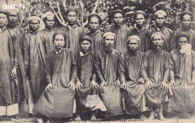 Các vị chức sắc trong làng ở Sài Gòn, Nam kỳ, Việt Nam năm 1900,Việt nam xưa,Việt Nam thế kỷ 18,Ảnh cổ Việt Nam