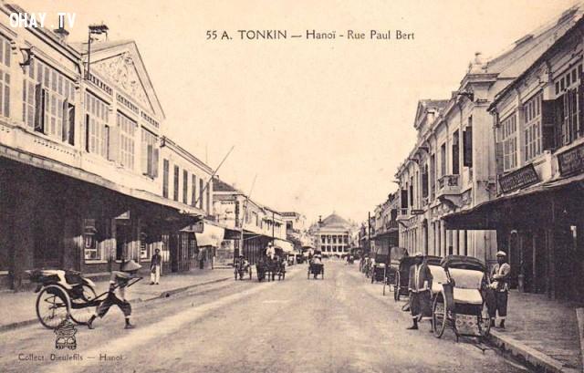 Đường Paul Bert ở Hà Nội đầu thế kỷ 20 - phố Tràng Tiền hiện nay,Việt nam xưa,Việt Nam thế kỷ 18,Ảnh cổ Việt Nam