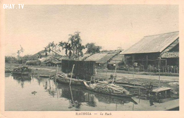 Một con rạch ở Rạch Giá cuối thế kỷ 19,Việt nam xưa,Việt Nam thế kỷ 18,Ảnh cổ Việt Nam