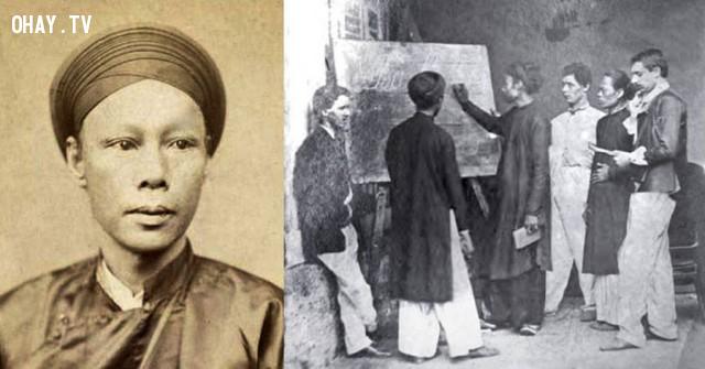 Nhà bác học Jean-Baptiste Pétrus Trương Vĩnh Ký và một lớp học của ông khoảng 1865,Việt nam xưa,Việt Nam thế kỷ 18,Ảnh cổ Việt Nam