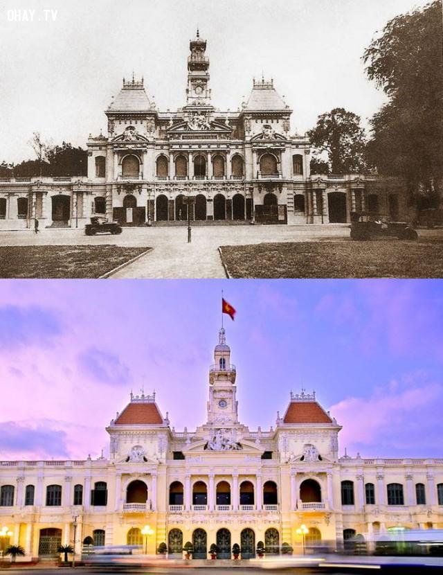 Tòa Thị chính (Hôtel de Ville) thời Pháp khi mới xây xong (1898-1909),Việt nam xưa,Việt Nam thế kỷ 18,Ảnh cổ Việt Nam