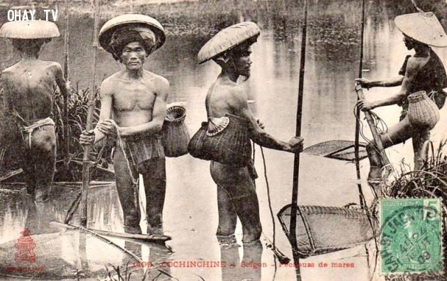 Bắc kỳ, những người đàn ông đánh bắt cá ngoài sông, năm 1909,Việt nam xưa,Việt Nam thế kỷ 18,Ảnh cổ Việt Nam