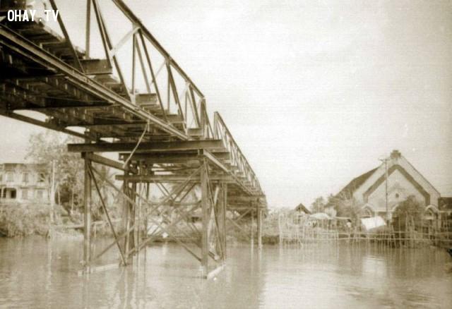 Cầu và Nhà thờ Cái Mơn,Bến Tre xưa,Xứ dừa,hình xưa,ảnh cổ,ảnh lịch sử