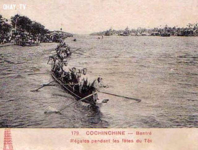 Đua ghe trên sông Bến Tre dịp tết cổ truyền thời Pháp,Bến Tre xưa,Xứ dừa,hình xưa,ảnh cổ,ảnh lịch sử