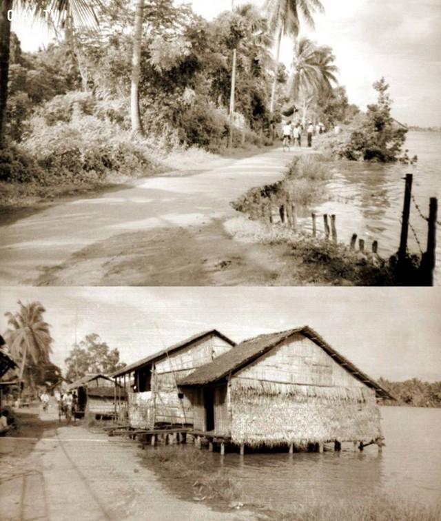 Đường cặp bờ sông những năm 90,Bến Tre xưa,Xứ dừa,hình xưa,ảnh cổ,ảnh lịch sử