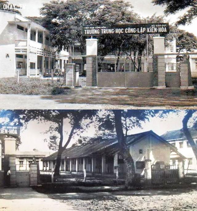 Trường Trung học Kiến Hòa 1970, hình dưới là dãy C,Bến Tre xưa,Xứ dừa,hình xưa,ảnh cổ,ảnh lịch sử
