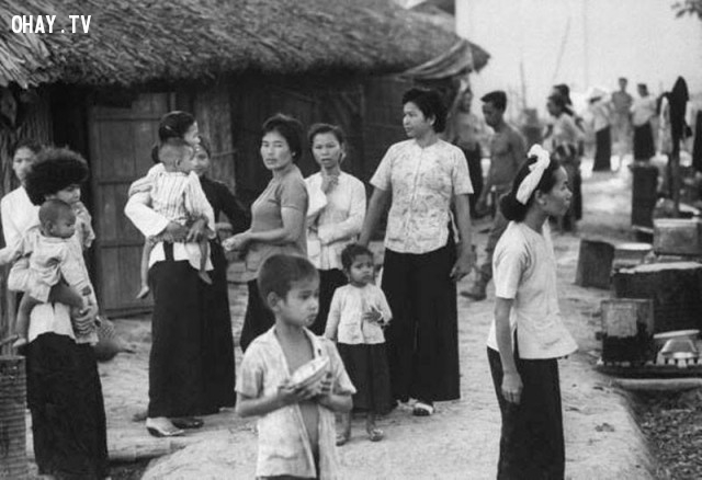 Phụ nữ và trẻ em Kiến Hòa thời 1961,Bến Tre xưa,Xứ dừa,hình xưa,ảnh cổ,ảnh lịch sử