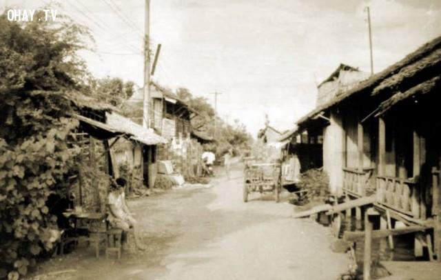 Đường cặp bờ sông khoảng những năm 1990, gần khu vực cầu Kiến Vàng,Bến Tre xưa,Xứ dừa,hình xưa,ảnh cổ,ảnh lịch sử