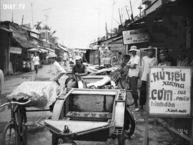 Bến xe lôi gần bến phà,Bến Tre xưa,Xứ dừa,hình xưa,ảnh cổ,ảnh lịch sử
