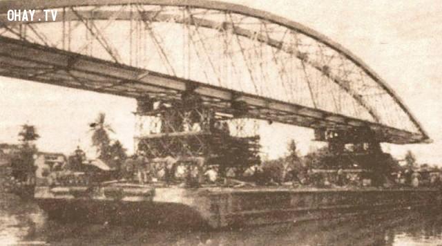 Thi công cầu Chợ Lách 1995,Bến Tre xưa,Xứ dừa,hình xưa,ảnh cổ,ảnh lịch sử