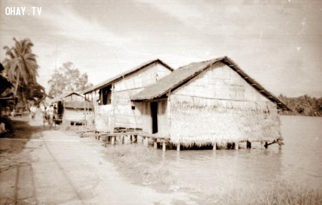 Đoạn gần cầu Kiến Vàng,Bến Tre xưa,Xứ dừa,hình xưa,ảnh cổ,ảnh lịch sử
