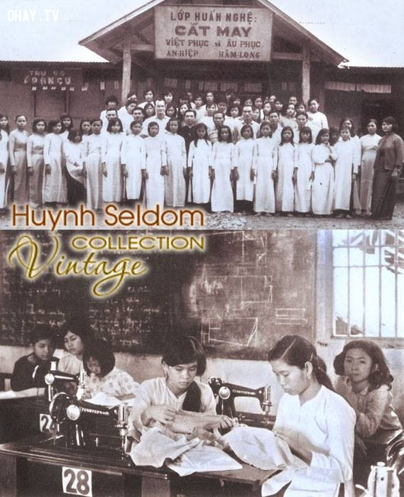 Một lớp dạy cắt may ở khu vực An Hiệp - Hàm Long năm 1960,Bến Tre xưa,Xứ dừa,hình xưa,ảnh cổ,ảnh lịch sử