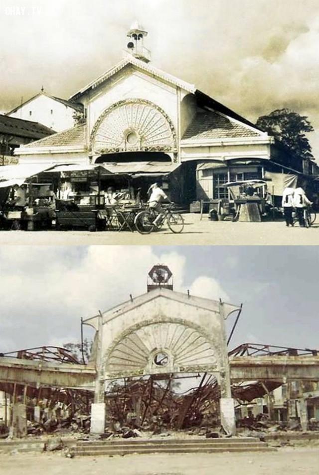 Mặt sau chợ Trúc Giang (nhìn ra sông) trước và sau khi bị chiến tranh tàn phá 1968,Bến Tre xưa,Xứ dừa,hình xưa,ảnh cổ,ảnh lịch sử