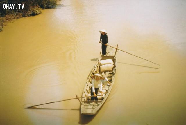 Ghe chèo 2 mái miền Tây - 1964,Bến Tre xưa,Xứ dừa,hình xưa,ảnh cổ,ảnh lịch sử