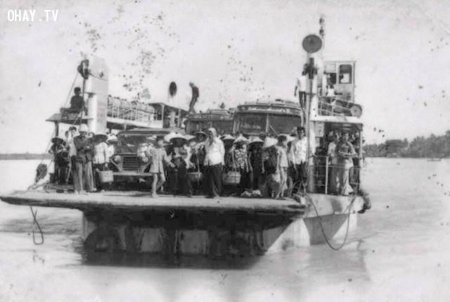 Phà Hàm Luông khoảng 1985,Bến Tre xưa,Xứ dừa,hình xưa,ảnh cổ,ảnh lịch sử