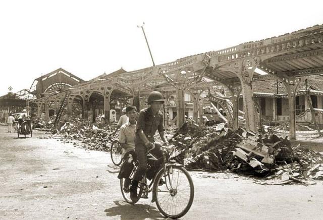 Chợ Trúc Giang bị tàn phá trong trận Mậu Thân 1968,Bến Tre xưa,Xứ dừa,hình xưa,ảnh cổ,ảnh lịch sử