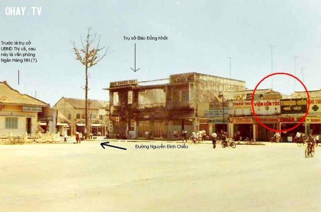 Khu vực Bùng binh, chợ nhà lồng xưa, nay là trụ sở báo Đồng Khởi,Bến Tre xưa,Xứ dừa,hình xưa,ảnh cổ,ảnh lịch sử