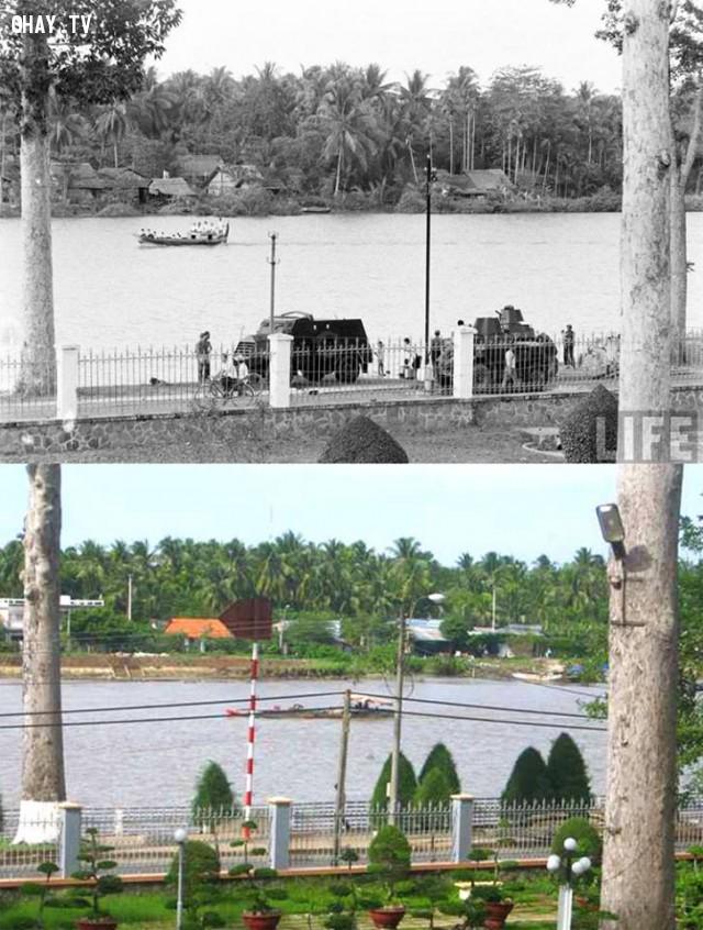 Hai bức ảnh cùng 1 góc chụp từ khuôn viên Bảo tàng nhìn qua bờ Mỹ Thạnh An, cách nhau khoảng 40 năm (1961-2001),Bến Tre xưa,Xứ dừa,hình xưa,ảnh cổ,ảnh lịch sử