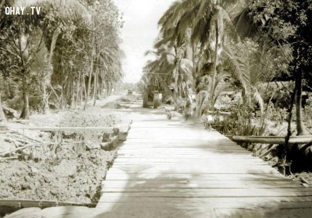Đường Nguyễn Huệ đang thi công - khoảng năm 1986,Bến Tre xưa,Xứ dừa,hình xưa,ảnh cổ,ảnh lịch sử