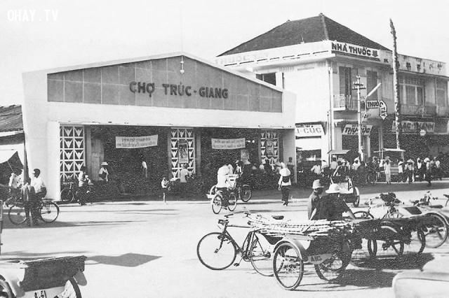 Chợ Trúc Giang khoảng 1965-1967, nay là TTTM (chợ Phường 2),Bến Tre xưa,Xứ dừa,hình xưa,ảnh cổ,ảnh lịch sử