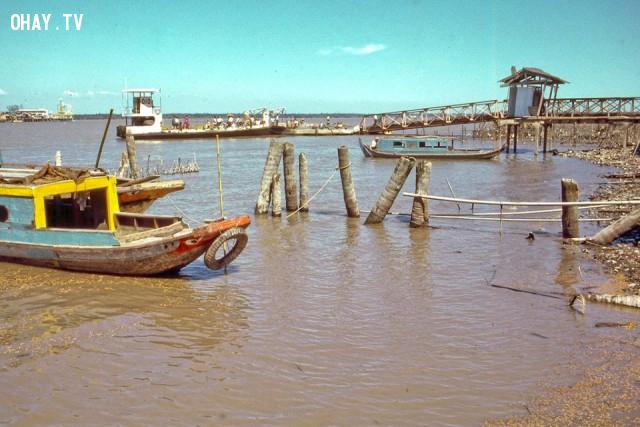 Bến phà Rạch Miễu năm 1969,Bến Tre xưa,Xứ dừa,hình xưa,ảnh cổ,ảnh lịch sử