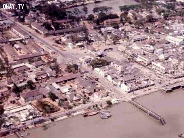 Không ảnh cầu Bến Tre bị đánh sập 1968,Bến Tre xưa,Xứ dừa,hình xưa,ảnh cổ,ảnh lịch sử