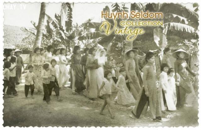 Đưa dâu trong đám cưới vùng quê An Hiệp - Bến Tre năm 1960,Bến Tre xưa,Xứ dừa,hình xưa,ảnh cổ,ảnh lịch sử