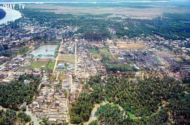 Không ảnh thị xã Bến Tre 1968,Bến Tre xưa,Xứ dừa,hình xưa,ảnh cổ,ảnh lịch sử