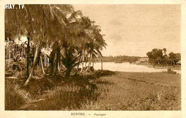 Bentre Paysages - Phong cảnh xứ dừa, thời Pháp, đây là một trong những bức ảnh rất hiếm,Bến Tre xưa,Xứ dừa,hình xưa,ảnh cổ,ảnh lịch sử