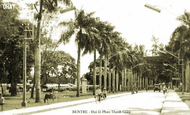 Đại lộ Phan Thanh Giản (nay là đại lộ Đồng khởi), khoảng 1965,Bến Tre xưa,Xứ dừa,hình xưa,ảnh cổ,ảnh lịch sử
