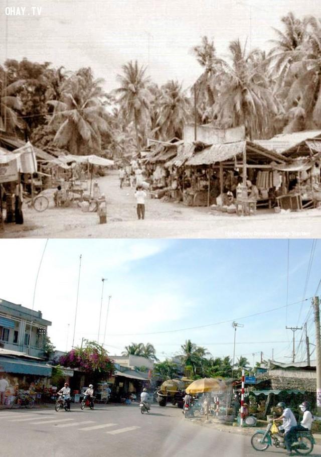 Chợ Tú Điền xưa (khoảng 1993) và gần đây (2007),Bến Tre xưa,Xứ dừa,hình xưa,ảnh cổ,ảnh lịch sử