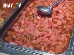 Dưa hấu xào cà chua,món ăn,kỳ lạ