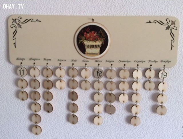 2. Bạn có thể sử dụng loại lịch treo tường kiểu này để ghi chú ngày sinh của những người mà bạn quan tâm. Rất độc đáo phải không nào!,mẹo thông minh