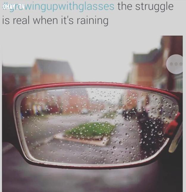 Nỗi khổ khi gặp mưa,cận thị,nỗi khổ đeo kính