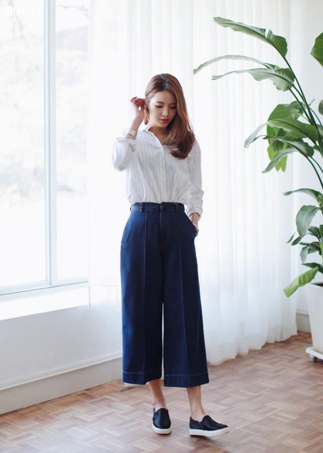 Bước 4: Mặc quần ống rộng để cao ráo hơn,trang phục cho người lùn