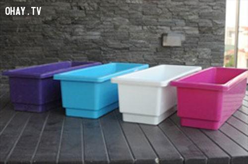 2. Chọn thùng, chậu phù hợp:,trồng rau trên sân thượng,trồng rau trong chậu,vườn rau sạch,trồng rau sạch tại nhà