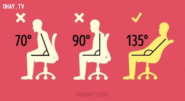 7. Ngồi với tư thế 135 độ ,mẹo hay,ngồi thẳng lưng,tư thế thẳng lưng,tư thế xấu,tư thế đẹp