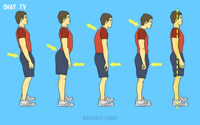 9. Học cách đứng đúng và thẳng ,mẹo hay,ngồi thẳng lưng,tư thế thẳng lưng,tư thế xấu,tư thế đẹp