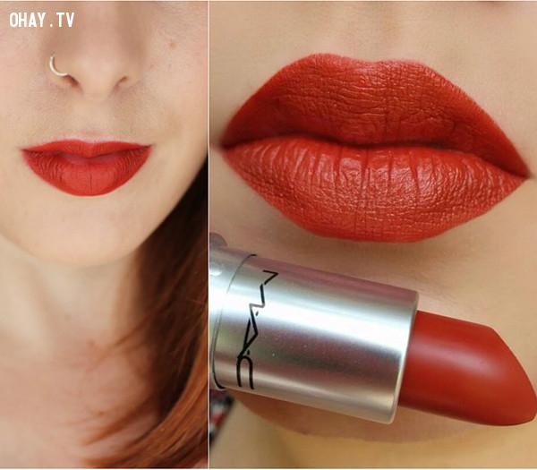 5. Son MAC matte lipstick - màu Chili - Giá 430.000đ,son môi,son màu đỏ gạch,son môi nào tốt