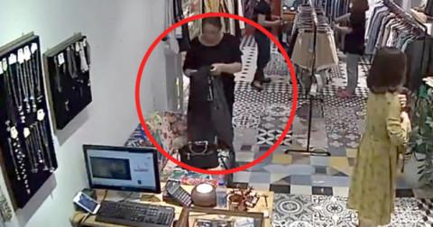 Trộm 22 triệu trong shop quần áo, người phụ nữ vô tình bị camera ghi lại