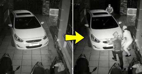 Kết cục bi hài của 3 thanh niên định trộm xe máy nhưng bị ô tô chắn đường