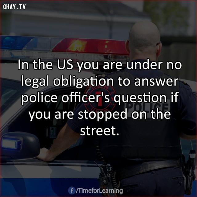 9. Ở Mỹ, bạn không có nghĩa vụ pháp lý phải trả lời các câu hỏi của cảnh sát viên nếu bạn bị chặn lại trên đường.,mẹo hay