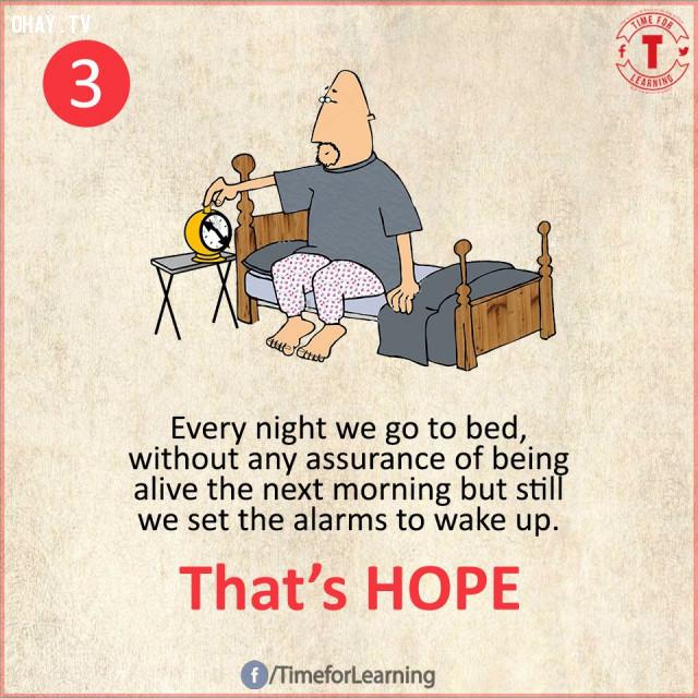 3. Mỗi tối chúng ta đi ngủ, không hề có bất kỳ sự đảm bảo nào là chúng ta sẽ sống vào sáng hôm sau nhưng chúng ta vẫn đặt đồng hồ báo thức để thức dậy. Đó là HY VỌNG.,suy ngẫm,bài học cuộc sống