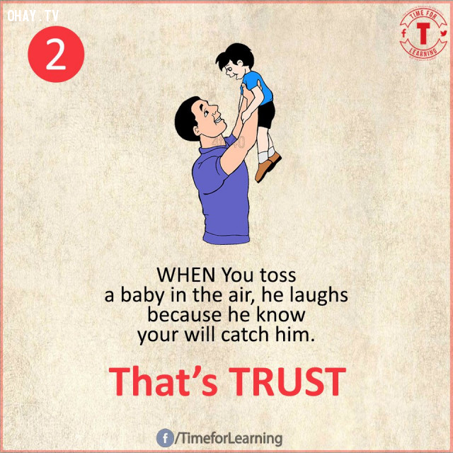 2. Khi bạn tung đứa bé lên không trung, nó sẽ cười lớn vì nó biết bạn sẽ chụp lấy nó. Đó là SỰ TIN TƯỞNG.,suy ngẫm,bài học cuộc sống