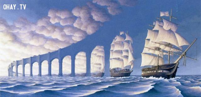 Một chiếc thuyền buồm hay một kiến trúc hình cung?,ảo ảnh thị giác