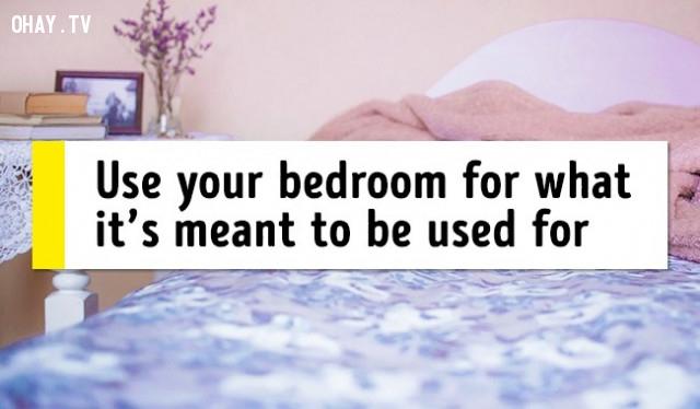 13. Sử dụng phòng ngủ đúng mục đích (biến phòng ngủ thành môi trường để ngủ),mẹo sức khỏe,chữa mất ngủ,trị mất ngủ
