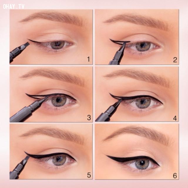 Cách vẽ viền mắt bằng mắt nước,mẹo trang điểm,làm đẹp